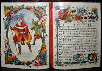 "Good King Wenceslas - Sheet music of ""Good King Wenceslas"" in a biscuit container from 1913, preserved at the Victoria and Albert Museum."