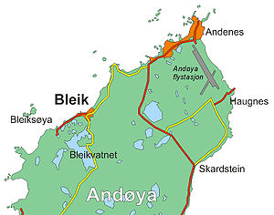 Andøy - Andenes and Bleik are located on the northern part of Andøya