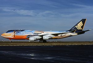 Singapore Airlines Flight 006 - 9V-SPL, the sister aircraft of 9V-SPK, still wearing tropical livery in November 2000