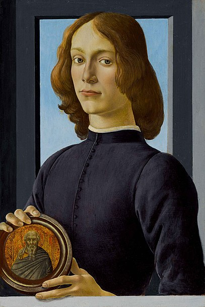 Botticelli - Portrait of a young man holding a medallion