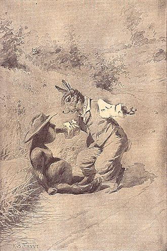 Tar-Baby - Br'er Rabbit attacking the Tar-Baby, 1895 illustration