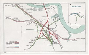 Bricklayers' Arms - A 1908 Railway Clearing House map of lines around the approaches to London Bridge, including the Bricklayer's Arms and Willow Walk goods yards and associated approach lines.