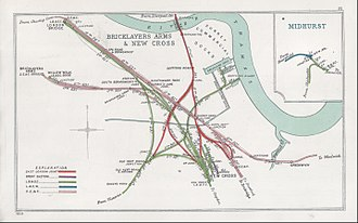 London, Brighton and South Coast Railway - A 1908 Railway Clearing House map of lines around Bricklayers Arms and London Bridge station, as well as surrounding lines