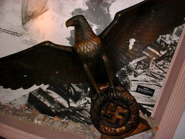 A bronze Nazi eagle from the New Reich Chancellery on display at the Imperial War Museum.
