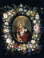 Brueghel, Jan the Elder and Francken II, Frans - Virgin and Child with Infant St John in a Garland of Flowers 1630s.png