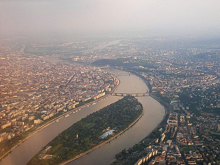 Aerial view of Margaret Island, Budapest, Hungary. There are 15 bridges over the Danube in Budapest. Budapest by air.jpg