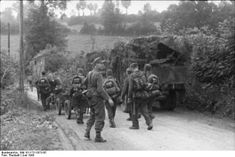 Battle of Bréville - German troops moving towards the front
