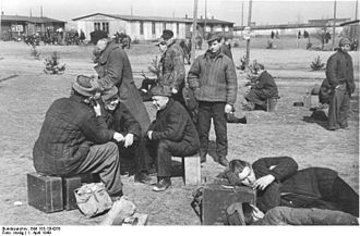 Forced labor of Germans in the Soviet Union - A group of recently released German prisoners-of-war waiting to be sent back home,before their repatriation in 1949.