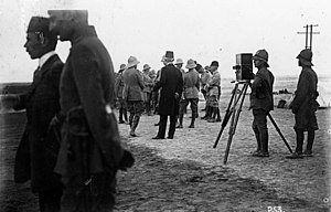 Colmar Freiherr von der Goltz - Ras al-Ain (Syria), near the Euphrates river (then the end of the Baghdad Railway), May 1916: German officers of the Special Palestine Mission are waiting for the arrival of the coffin of Goltz-Pasha