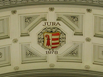 Canton of Jura - The coat of arms of the canton has been added to the side of the dome in the Federal Palace in Bern, which features the arms of the other cantons, after its foundation in 1978