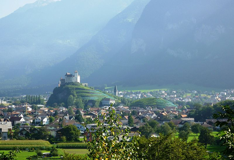 View to the castle Gutenberg in Balzers, Liechtenstein (parts of a power line retouched).