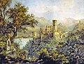 Burg Stolzenfels, im Hintergrund die Burg Lahneck 1836.jpg