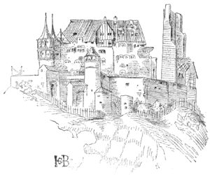 "Siege of Weinsberg - The partly ruined castle ""Weibertreu"" as it stood in 1515 (drawn after a sketch by Hans Baldung Grien)."