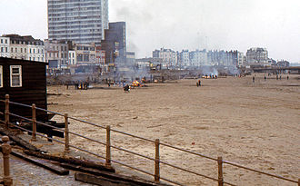 History of Margate - Burning debris from destroyed Margate Jetty 1978