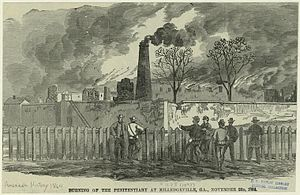 Milledgeville, Georgia - Burning of the penitentiary at Milledgeville, GA by the Union Army (November 23, 1864)
