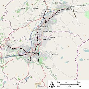 Burnley Corporation Tramways - Map of the tramways of Burnley, Nelson and Colne
