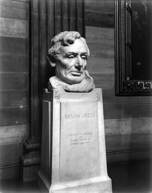 Sylacauga marble - Bust of Abraham Lincoln by Gutzon Borglum in the United States Capitol rotunda in Washington, D.C.