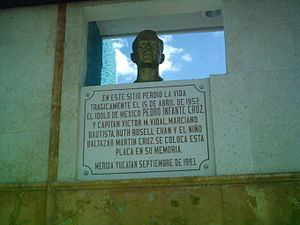 Golden Age of Mexican cinema - Pedro Infante's bust in the place he died. Hailed as one of the greatest actors of the Golden Age of Mexican cinema, he is considered an idol of the Latin American people.
