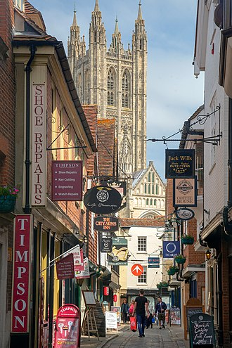A typical street in Canterbury with the cathedral in the background. Butchery Lane Canterbury Cathedral 7545.jpg