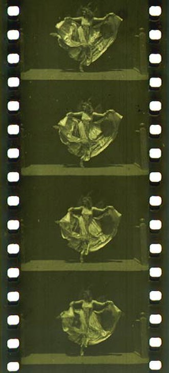 Kinetoscope - 35 mm filmstrip of the Edison production Butterfly Dance (ca. 1894–95), featuring Annabelle Whitford Moore, in the format that would become standard for both still and motion picture photography around the world.