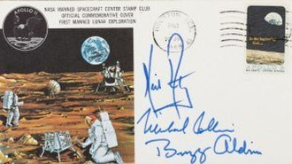 Apollo insurance covers - Buzz Aldrin's Apollo 11 Insurance Cover, postmarked July 20th 1969 and signed by Neil Armstrong, Michael Collins and Buzz Aldrin