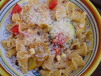 Campanelle - Campanelle with summer vegetables and grated cheese