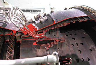Combustor - Fuel injectors of a cannular combustor on a Pratt & Whitney JT9D turbofan
