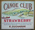 Canoe Club Brand strawberry soda label (E. Ducharme Bottle Works, Aldenville, Mass.).jpg