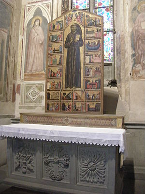 "Dossal - The ""Bardi Dossal"" in the Bardi Chapel of Santa Croce, Florence.  This is usually so called, but is an altarpiece and might also be called a retable or reredos.  The shelf it rises from is a retable"