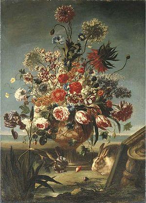 Carel de Vogelaer - Flowers in a vase with rabbit