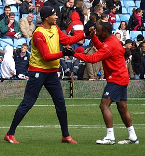 John Carew - Carew at an open-training session at Villa Park with teammate Nigel Reo-Coker