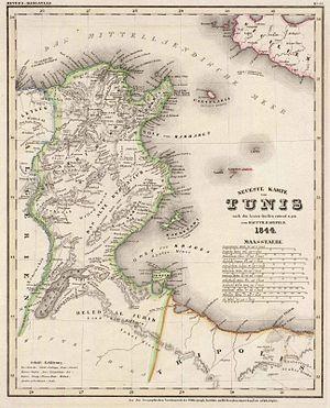 Français : Carte de la Tunisie en 1844