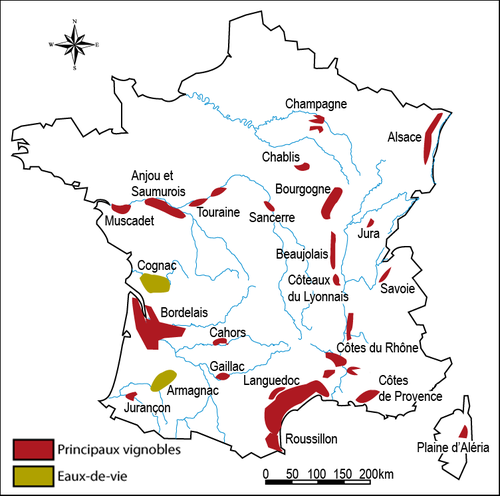 Map of the principial wine regions in France