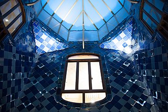 Casa Batlló - The atrium; Gaudí convinced Batlló to let him expand the central well of the building to let in light, instead of rebuilding.