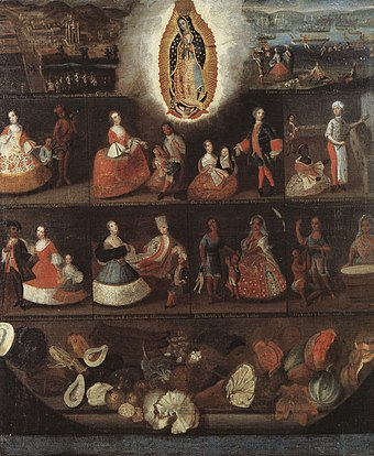 Luis de Mena, Virgin of Guadalupe and castas, 1750. The top left grouping is of an indio and an espanola, with their mestizo son. This is the only known casta painting with the indio in the superior position. Casta Painting by Luis de Mena.jpg
