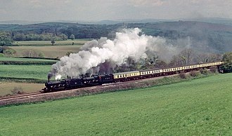 GWR 4073 Class - Castle class locos 5051 and 5029 climb St Germans bank