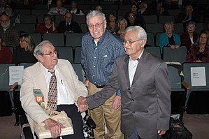 Ed Walker (American veteran) - The last three surviving members of Castner's Cutthroats – Ed Walker (left), Earl Acuff (center), and Billy Buck at the Anchorage Museum in 2008.