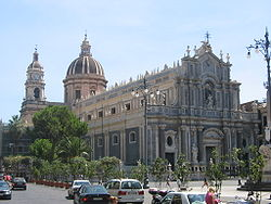 Catania Duomo. Giovanni Battista Vaccarini's principal façade (1736) is an example of the city's Sicilian Baroque architecture.
