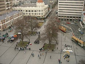 Cathedral Square, Christchurch - A view of Cathedral Square from the ChristChurch Cathedral