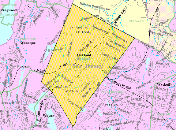 Census Bureau map of Oakland, New Jersey