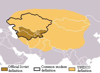Soviet Central Asia - Map of Central Asia showing three sets of possible Eurasian boundaries for the region