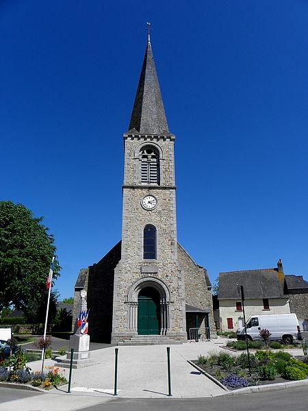 Église Saint-Pierre de Chalons-du-Maine (53). Tour-clocher d'Eugène Hawke.