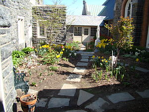 Chapel of the Most Holy Trinity (West Point) - Image: Chapel of the Most Holy Trinity (West Point, NY) courtyard in Spring