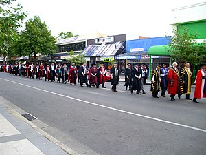 Town and gown - Charles Sturt University town-and-gown academic procession in Wagga Wagga, Australia