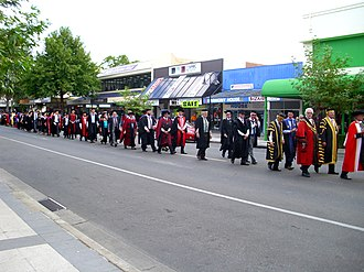 Town and gown - Charles Sturt University town and gown academic procession in Wagga Wagga, Australia