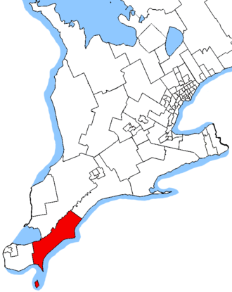 Chatham-Kent—Leamington (provincial electoral district) - Chatham-Kent—Leamington in relation to other southwestern Ontario electoral districts