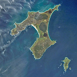 Chatham Islands - Satellite photograph of the archipelago. The two largest islands are Chatham Island, followed by Pitt Island to the southeast