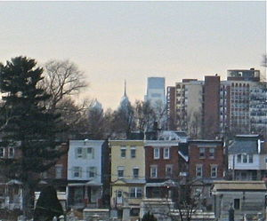 Cheltenham Avenue - Center City skyline viewed from Cheltenham Avenue