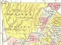 Carte du nord-est de la Géorgie, montrant les terres Cherokee