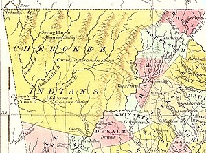 Cumming, Georgia - 1830 map of Cherokee territory